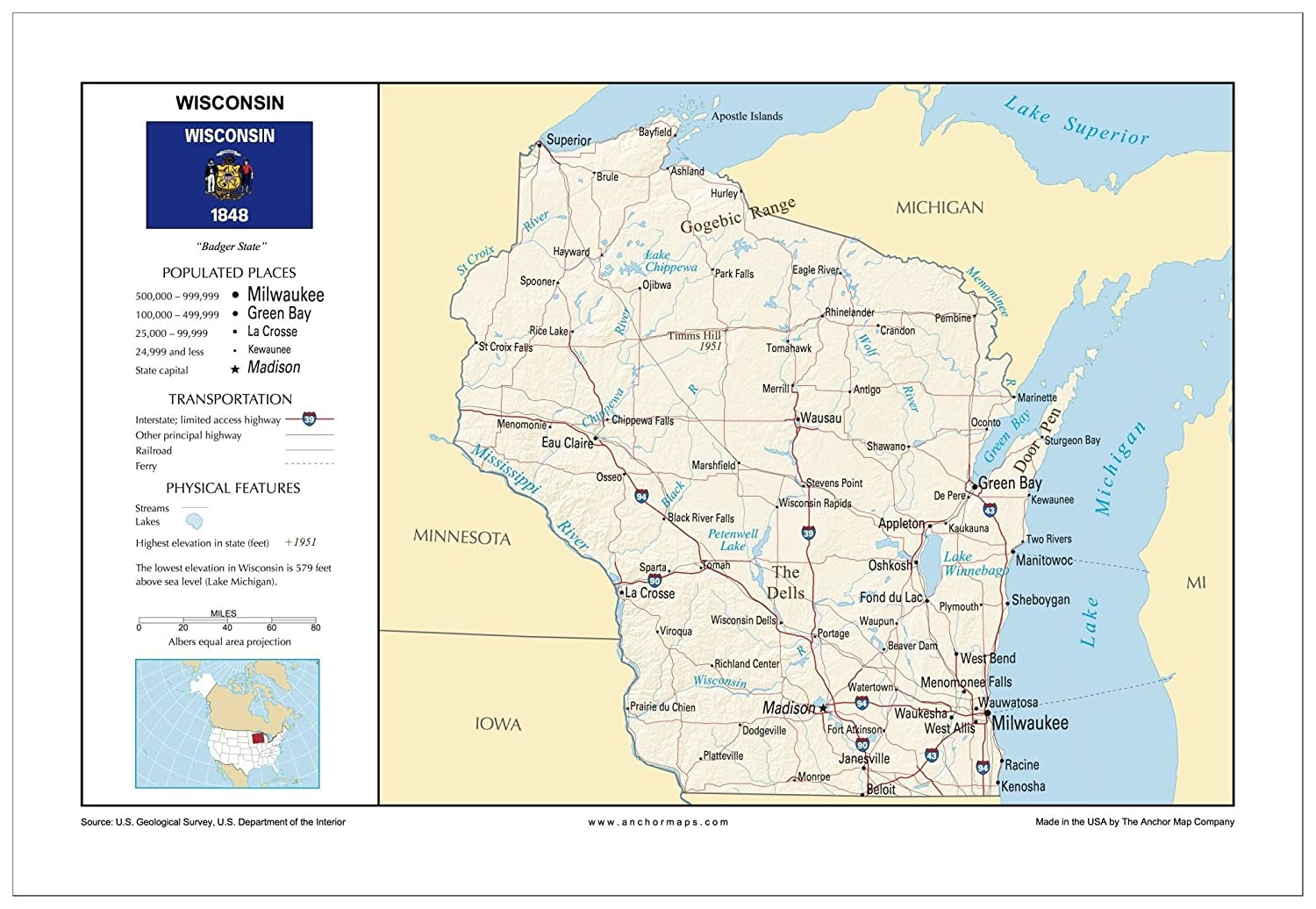Amazon Com 13x19 Wisconsin General Reference Wall Map Anchor