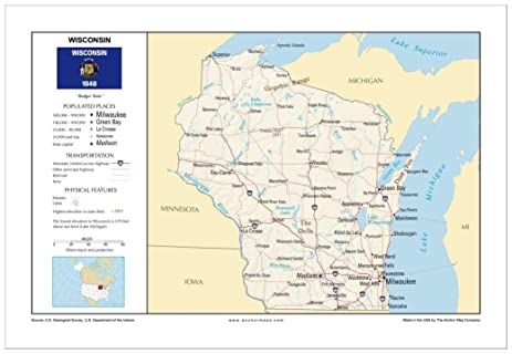 Amazoncom 13x19 Wisconsin General Reference Wall Map Anchor