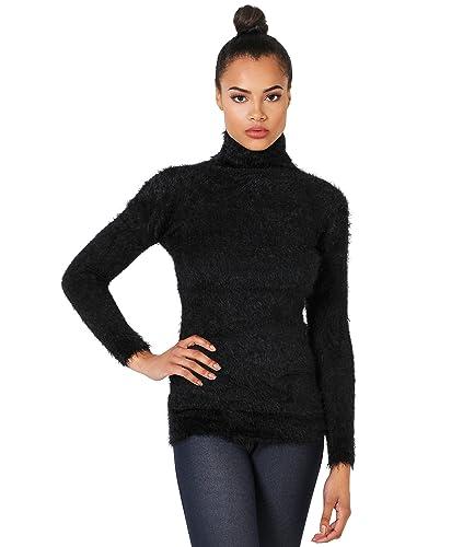 KRISP Jersey Mujer Pelo Cuello Vuelto Suéter Abrigado Punto Cisne Alto