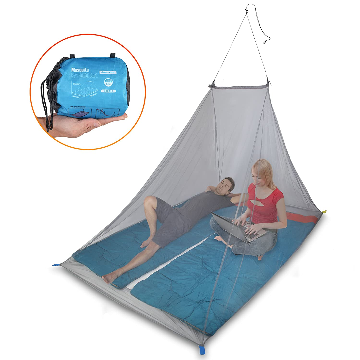 Dimples Excel Mosquito Net for Single Camping Bed - 250 Holes per Square Inch, Compact and Lightweight Dimples Excel Ltd