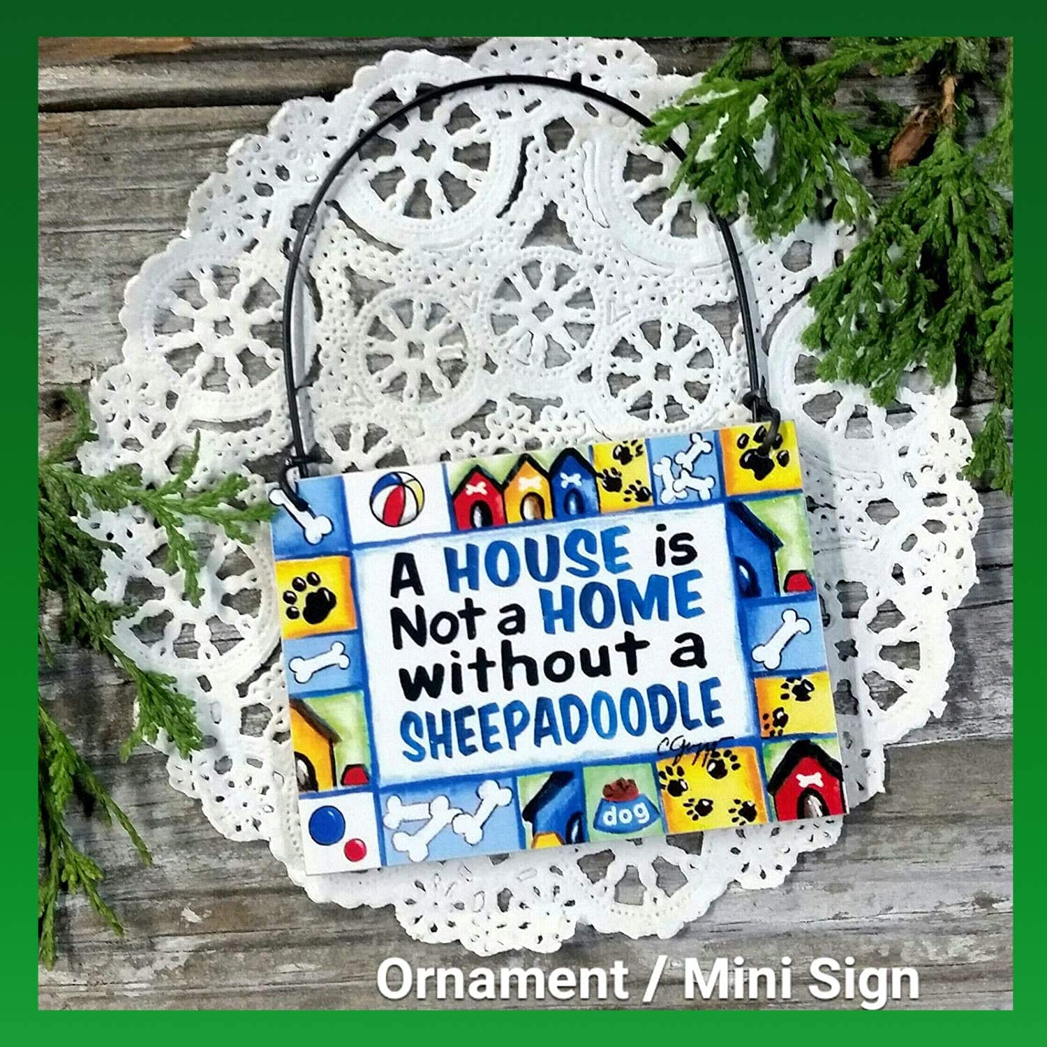 Generic1 Wooden Signs - Deco Mini Sign Sheepadoodle All Breeds JUST Ask! Wood Ornament Gift Made in USA New Wood Ornament - Ideal for Home Office Décor (Size Close to 2-1/2