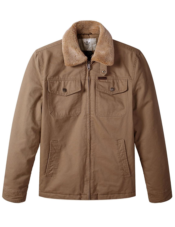 WenVen Men's Warm Quiltd Lined Full Zip Jacket with Mulit Pockets