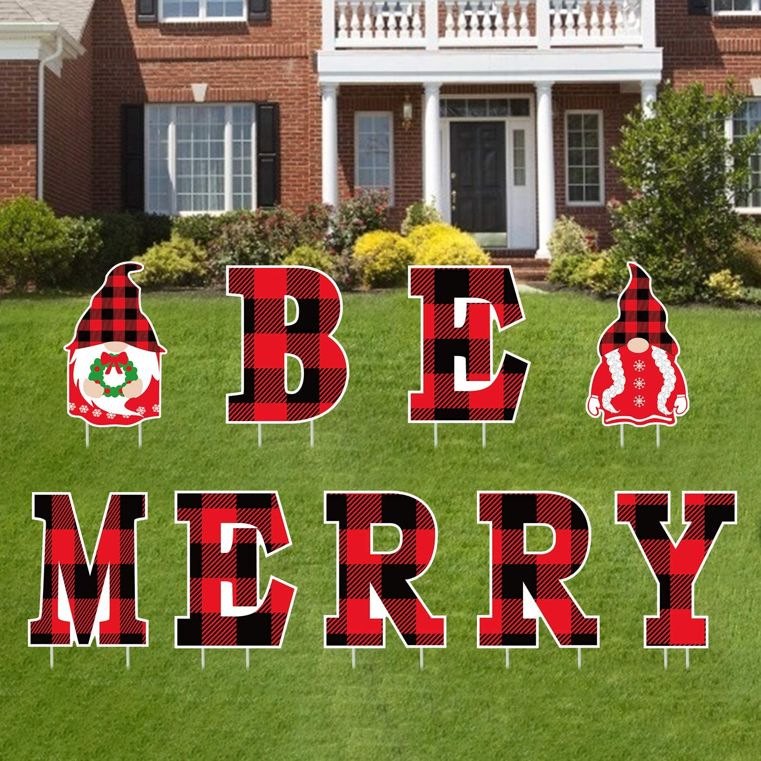 Tifeson Merry Christmas Yard Sign Outdoor Lawn Decorations Gnome Yard Signs- BE MEERY Letter Christmas Holiday Decor- Red and Black Buffalo Check Plaid Style