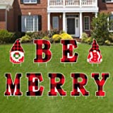 Tifeson Merry Christmas Yard Sign Outdoor Lawn Decorations Gnome Yard Signs- BE MEERY Letter Christmas Holiday Decor- Red and