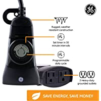 GE 24-Hour Indoor/Outdoor Programmable Mechanical Timer, Dual Outlet Plug-In, 2 Grounded Outlets, Heavy Duty Weather Resistant, 30 Minute Intervals, 15138