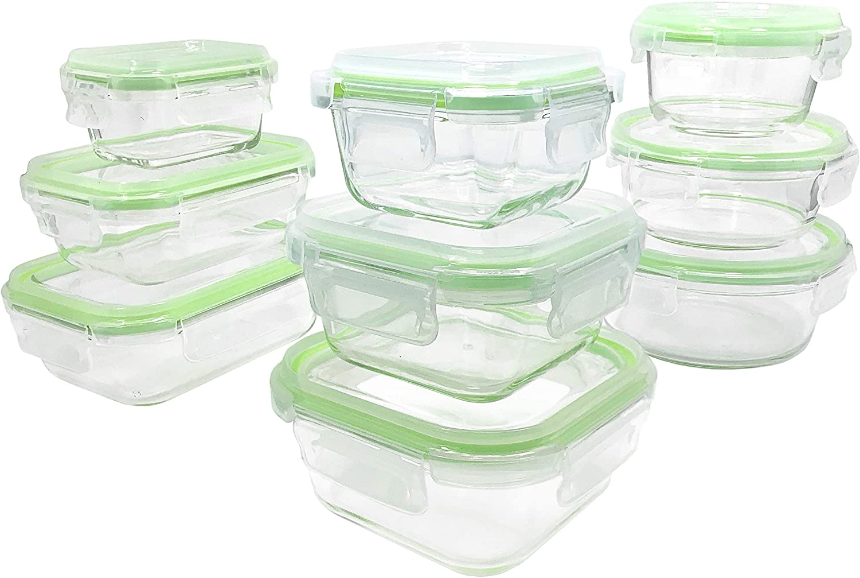 Home Fleek - Envases de Vidrio para Alimentos   9 Recipientes + 9 Tapas   Herméticos   Sin BPA (Set 9, Mixto Verde)
