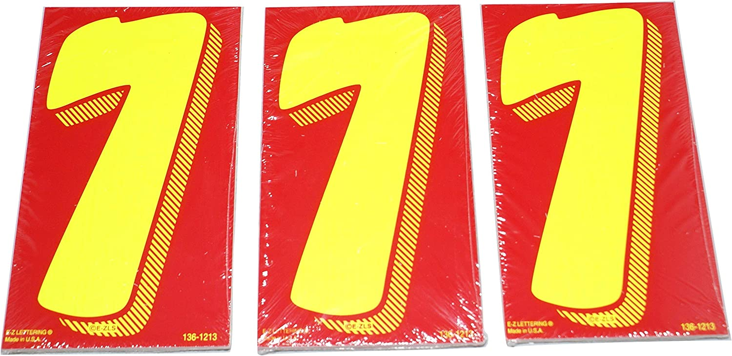 # 4s Great Link 7 1//2 Red /& Yellow Pricing Numbers for Car Dealers 3 Dozen Stickers Vinyl Windshield Decals