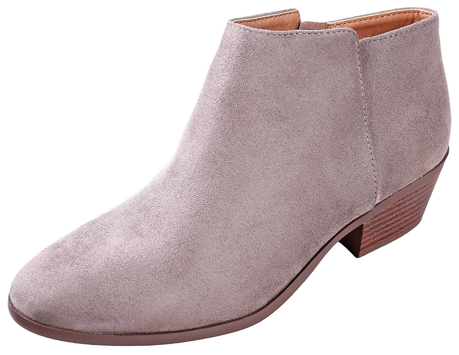 81cc52dc951 SODA Women's Round Toe Faux Suede Stacked Heel Western Ankle Bootie, Clay,  85 M US