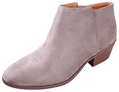 b99461f7fa4 SODA Women's Round Toe Faux Suede Stacked Heel Western Ankle Bootie, Clay,  85 M US