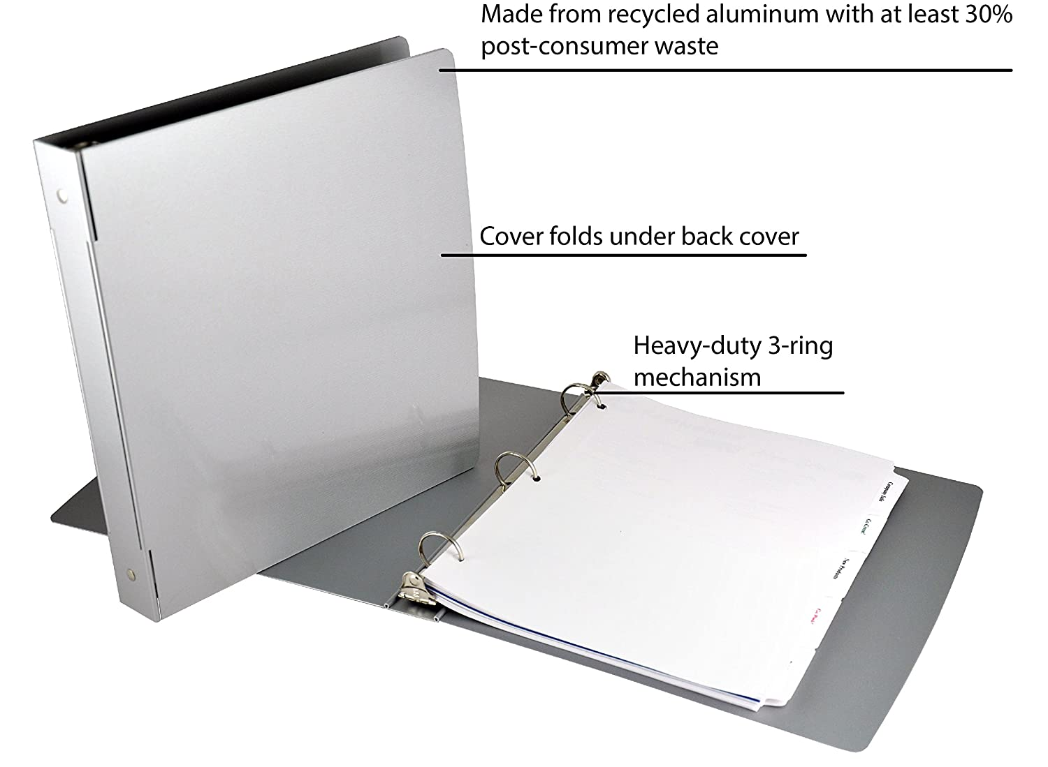 Saunders Recycled Aluminum Ring Binder, 1-Inch Spine, Letter Size, 8.5 x 12-Inch (00603)