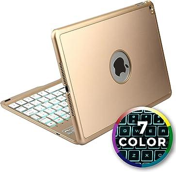 Funda con Teclado para Apple iPad Air 2, Cooper NOTEKEE F86 Carcasa con Teclado inalámbrico Bluetooth con retroiluminación LED de 7 Colores - (Oro)