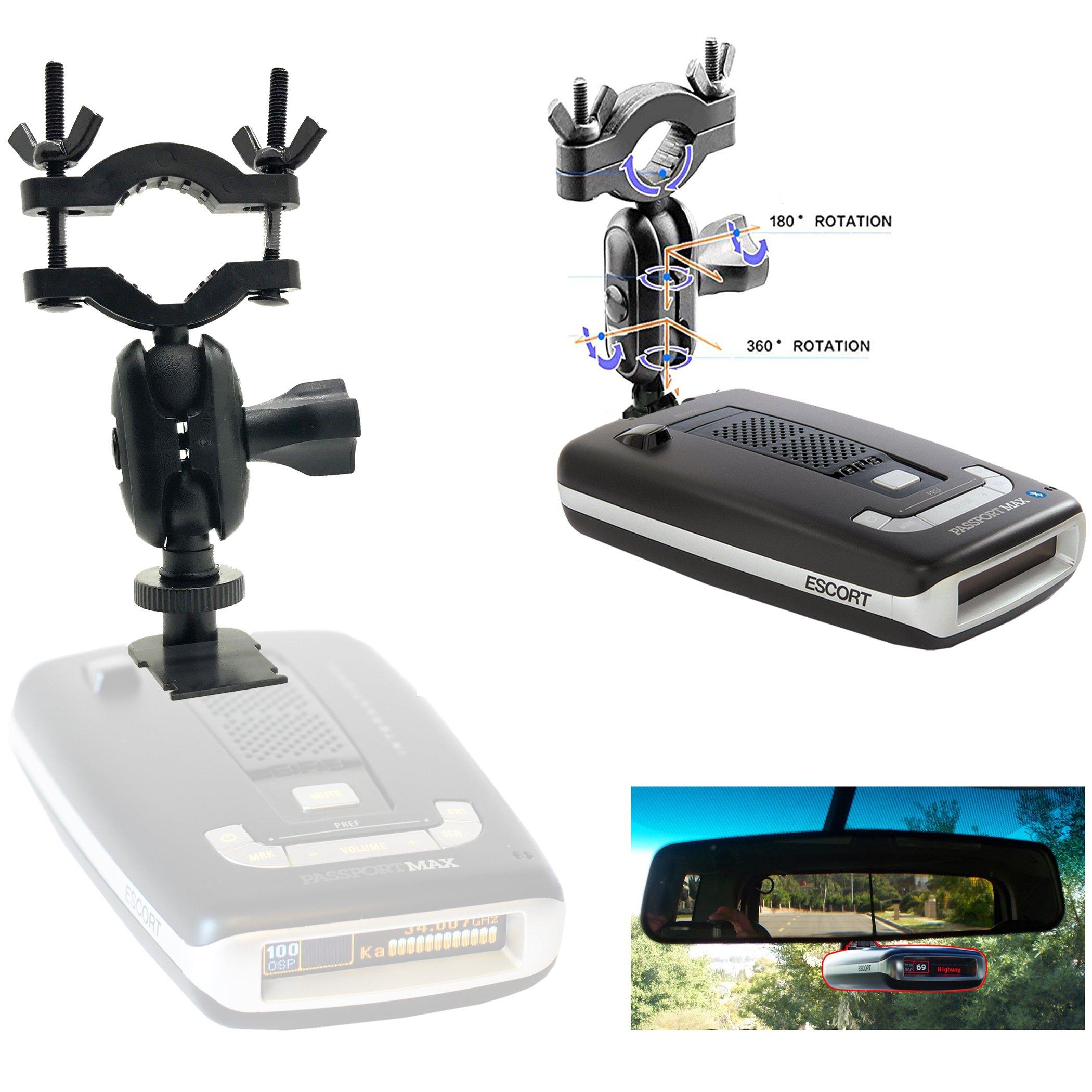 AccessoryBasics Car Rearview Mirror Radar Detector Mount for Escort PASSPORT Max / Max2 / Max 2 / Max II / Max360 (NOT COMPATIBLE with MAX360C MAGNETIC cradle radar)