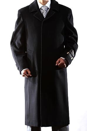 Men's Single Breasted Black Luxury Wool/Cashmere Full Length ...