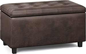 SIMPLIHOME Cosmopolitan 34 inch Wide Contemporary Rectangle Storage Ottoman in Distressed Brown Faux Air Leather, for the Living Room, Entryway, Family Room and Kids Room