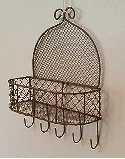 Rustic Wire Wall Storage Basket 5 Hooks Letters Keys Fruit Indoor/Garden  Planter