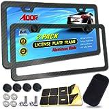 Aootf License Plate Frames Carbon Fiber- 2 Pack Black Aluminum Metal License Plate Holders Printing Carbon Fiber Pattern…