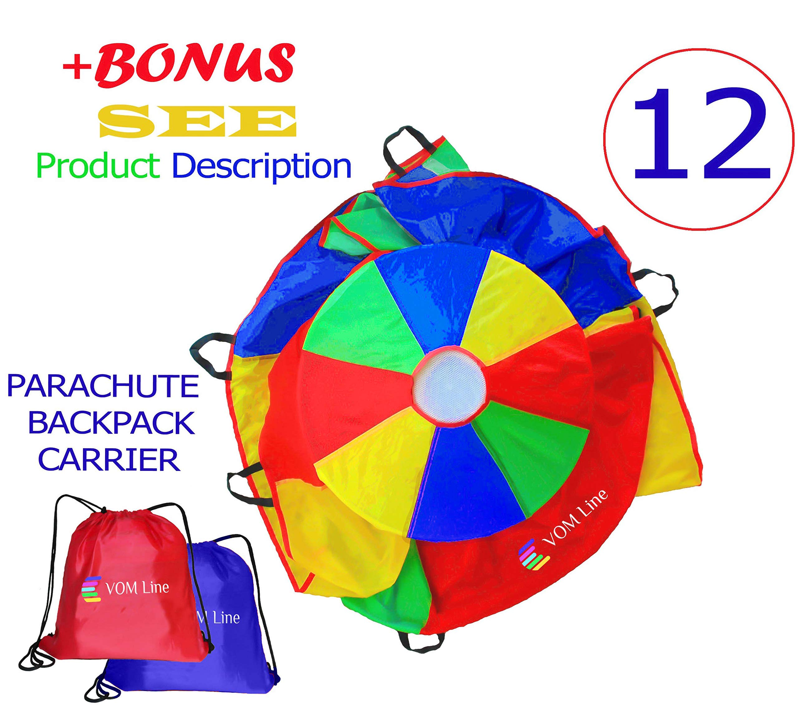 VOMLine Play Parachute 12 Foot for Kids with Extra Strong Smudge Resistant-Handles, Proper Selection of Matching Colors On the Basis of Experimental Color Testing, with High-Grade Stitching