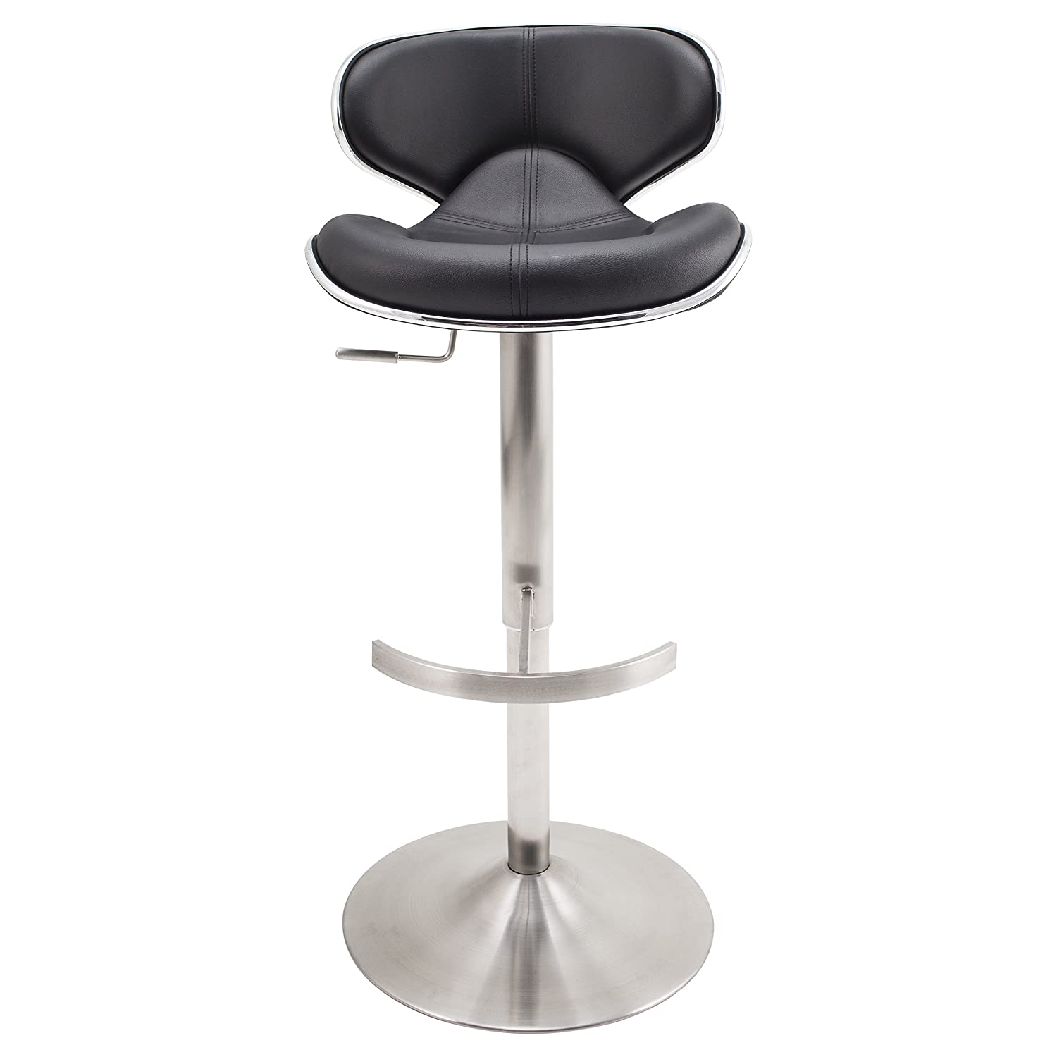 Mix Brushed Stainless Steel Faux Leather Black Adjustable Height Swivel Bar Stool with Round Trumpet Base