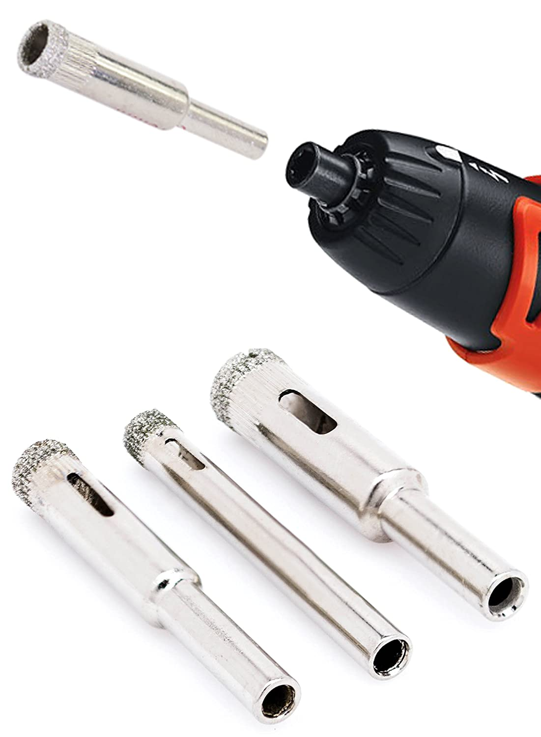 Bastex Diamond Grit Hole Saw Bit Drill Set (3pc). Includes 6mm, 8mm ...