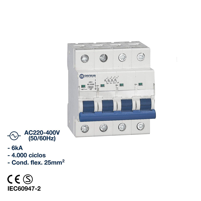 4 Polos x 20A Interruptor magnetot/érmico 6kA curva C