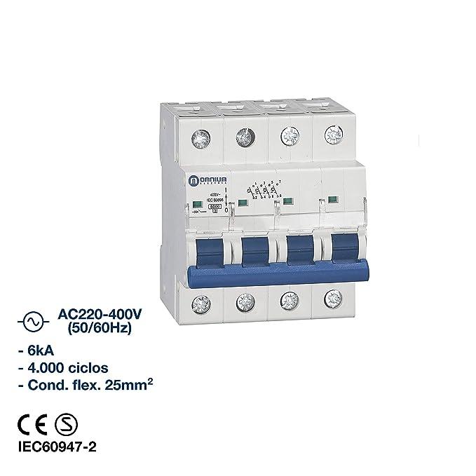 Interruptor magnetotérmico 6kA, curva C (1 Polo x 25A): Amazon.es ...