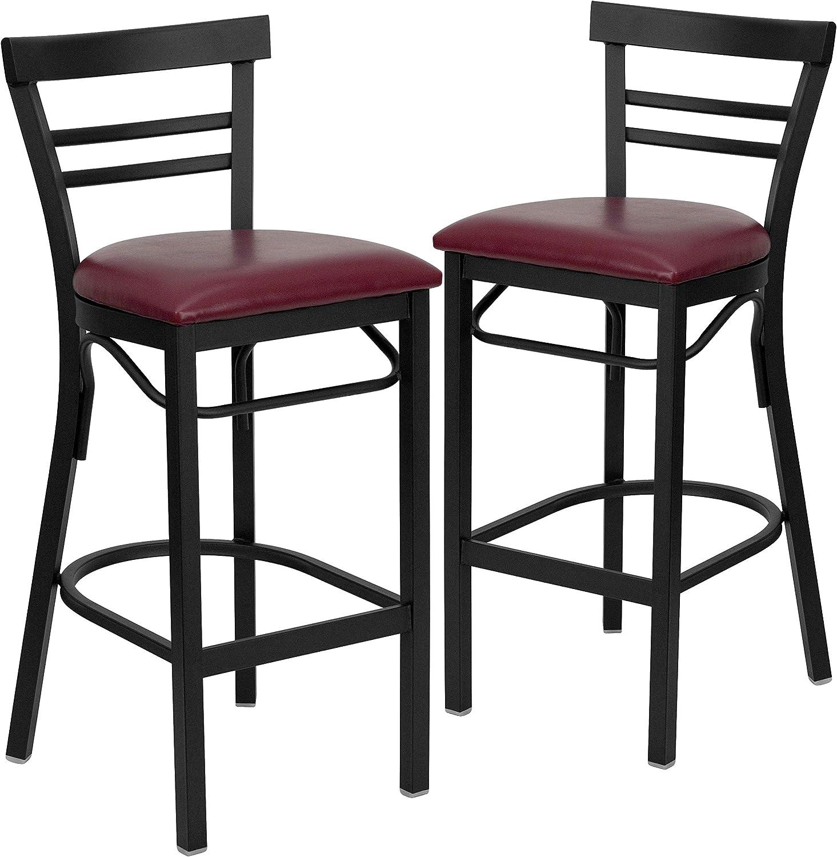 Flash Furniture 2 Pk. HERCULES Series Black Two-Slat Ladder Back Metal Restaurant Barstool - Burgundy Vinyl Seat
