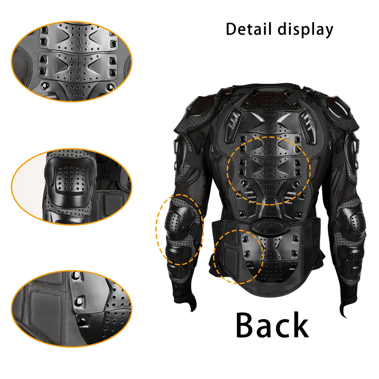 Ridbiker Motorcycle Full Body Armor Protector Removable Racing Jacket Motocross Spine Chest Motocross Protective Shirt,2XL,Black