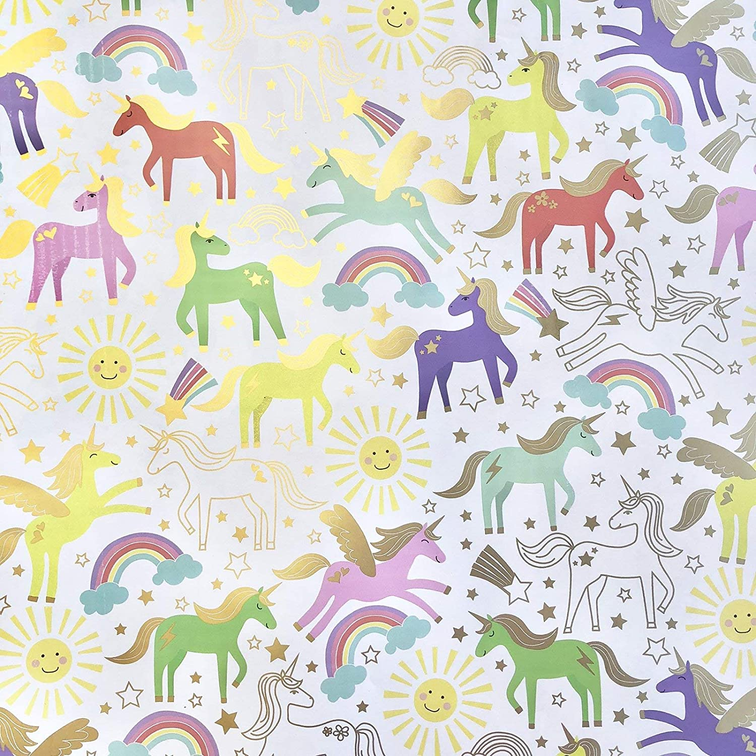 2 SHEETS OF THICK GLOSSY  GIRLS CHILDREN/'S  UNICORN BIRTHDAY WRAPPING PAPER