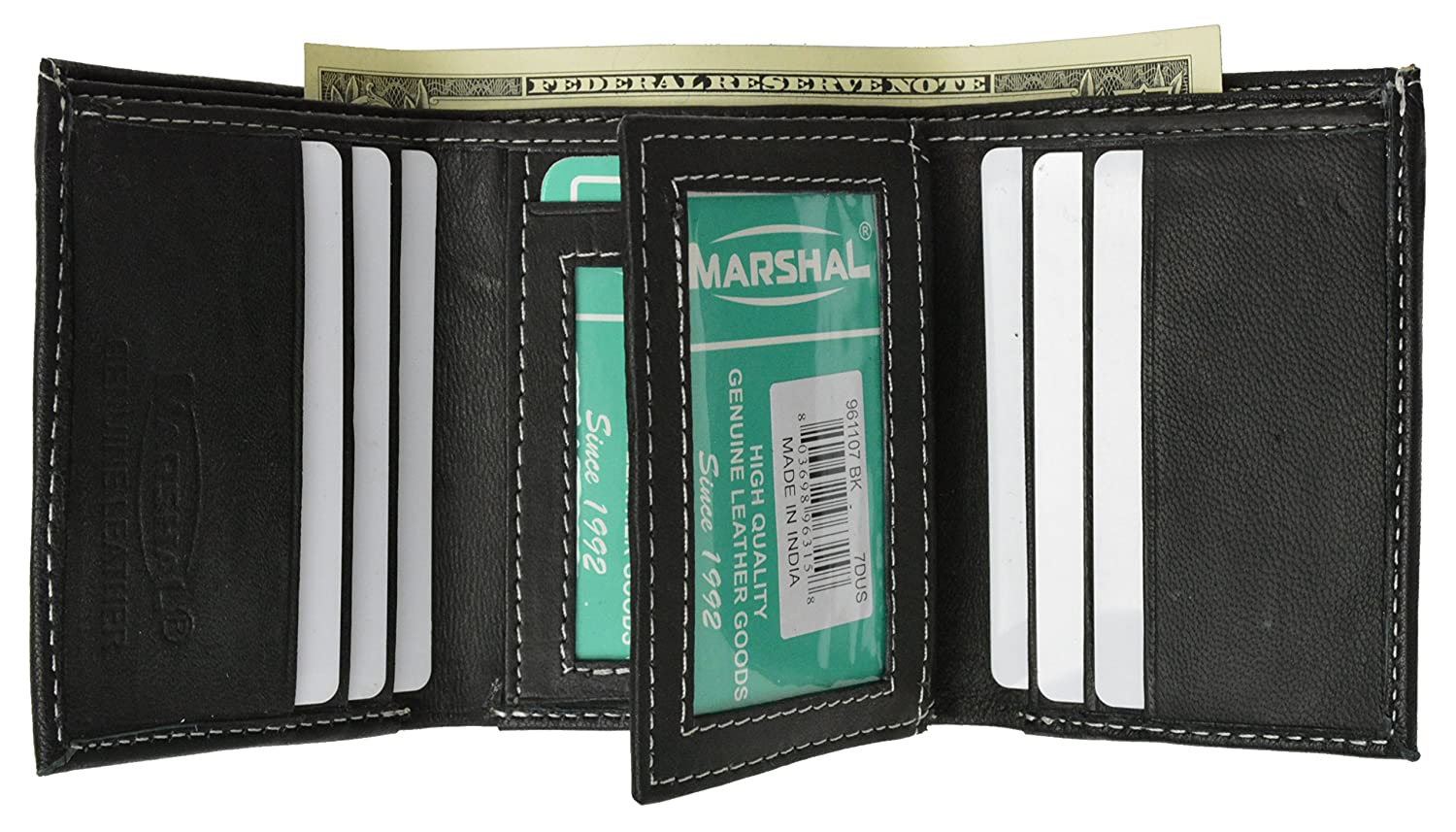 100% Leather Tri-fold Mens Wallet Black #961107 by Marshal O70148