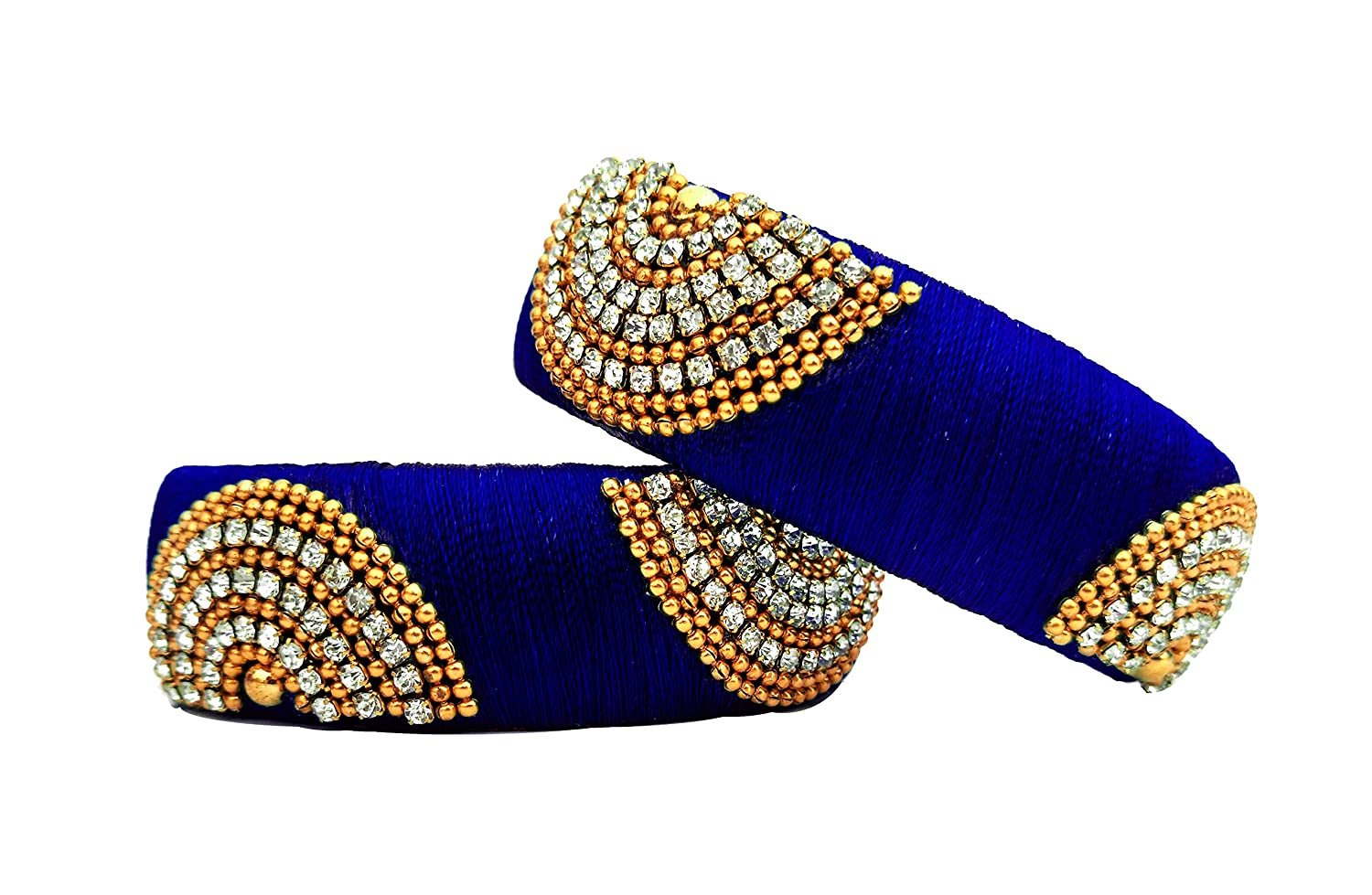Buy Youth Royal Blue Silk Thread Bangle Set For Women At Amazon In