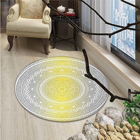 Amazon.com: Gris y Blanco Redondo área alfombra medallón ...