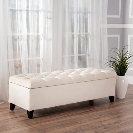 Upholstered Tufted Storage Ottoman with Lift Top - Accent Bedroom Bench  with Button Polyester Upholstery (Ivory)