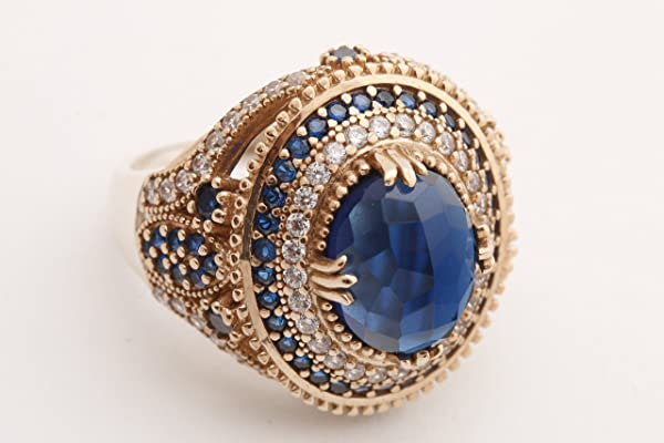 Turkish Handmade Jewelry Oval Shape Sapphire and Round Cut Topaz 925 Sterling Silver Ring Size Option