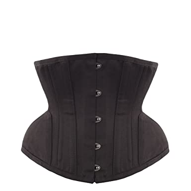 833d5659ea EXP006 36 Underbust Waist Trainer in Black Cotton Twill -Curved Hem and Hip  Panels