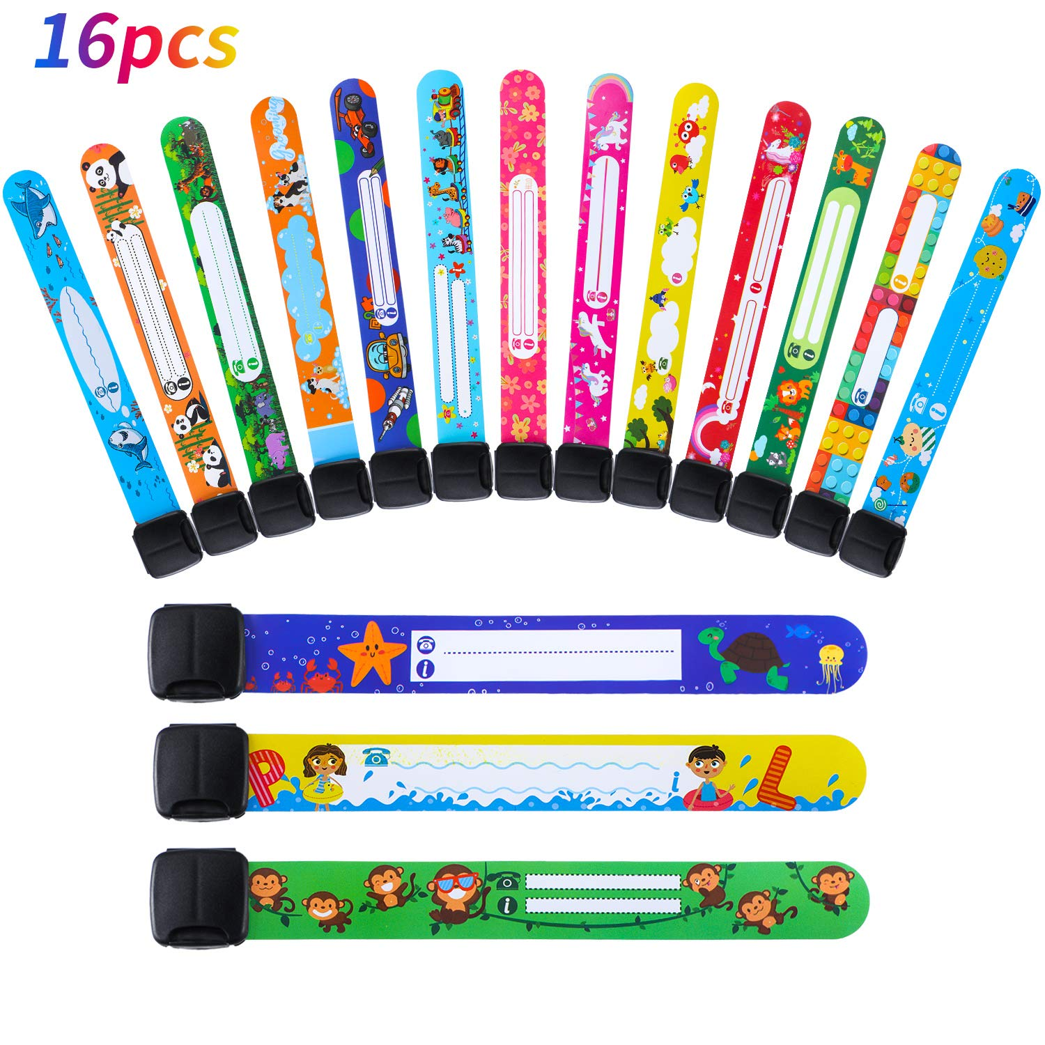 Children Safety ID Wristband Waterproof ID Bands Adjustable Information Wristbands for Boys and Girls Outdoor Supplies 16 Styles, 16 Pieces