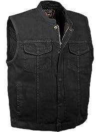 Milwaukee Men's Denim Club Vest with Hidden Snap and Zip (Black, Large)