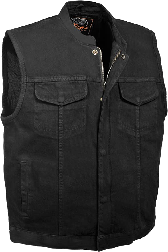 Club Vest mens Zipper Front Leather Vest with Seamless Design 1 Pack BLACK, SWAT Style, 5X