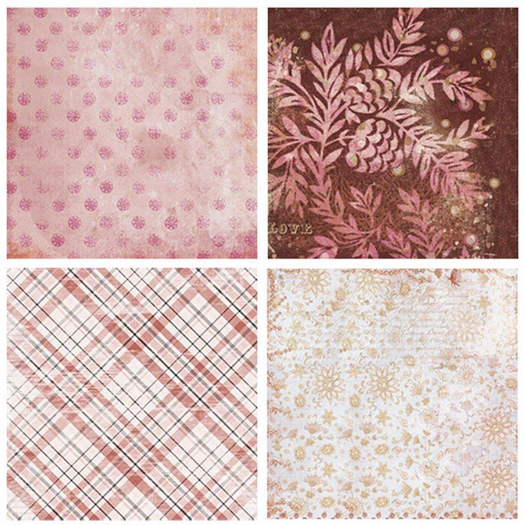 24 Hojas de Paper Pack Scrapbooking Estampado Flores Rom/ánticas Vintage para DIY Paper Decorativa Manualidades 15x15cm