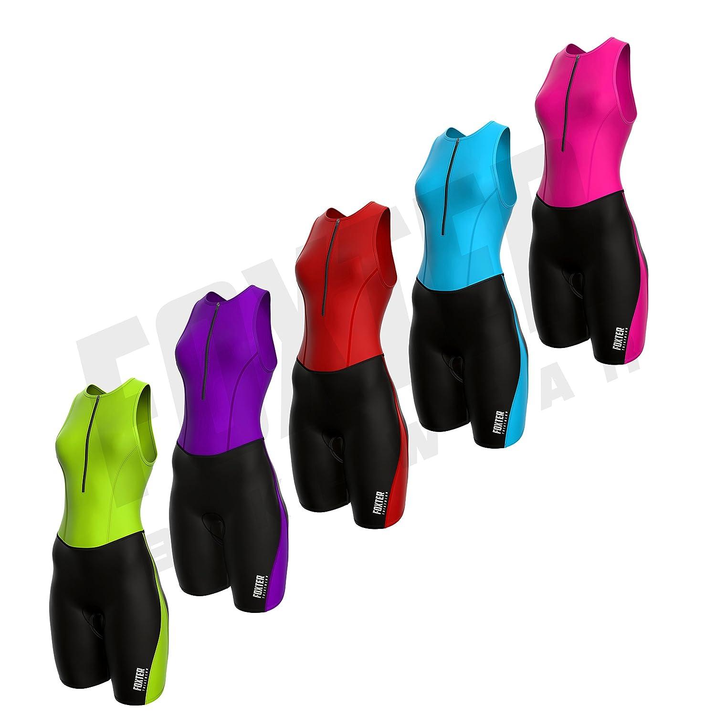Foxter Triathlonanzug für Damen, dreiteiliger hautenger Rennanzug für Frauen zum Laufen, Schwimmen, Radfahren Foxter Bike Wear
