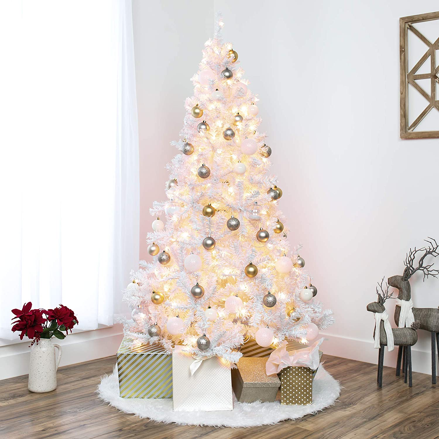Amazon Com Best Choice Products 6ft Pre Lit Hinged Artificial Christmas Pine Tree Holiday Decoration W 250 Warm White Lights Metal Stand 1 000 Tips Easy Assembly White Home Kitchen
