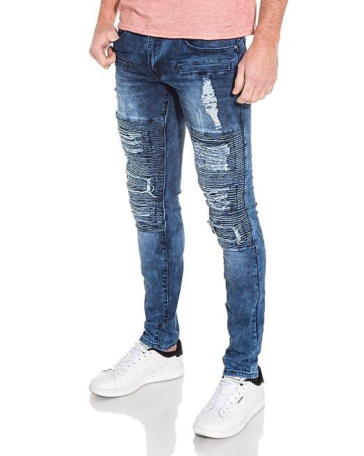 Jeans Homme Bleu Couleur Nervuré Délavé Jean Blz Destroy qfFRpq