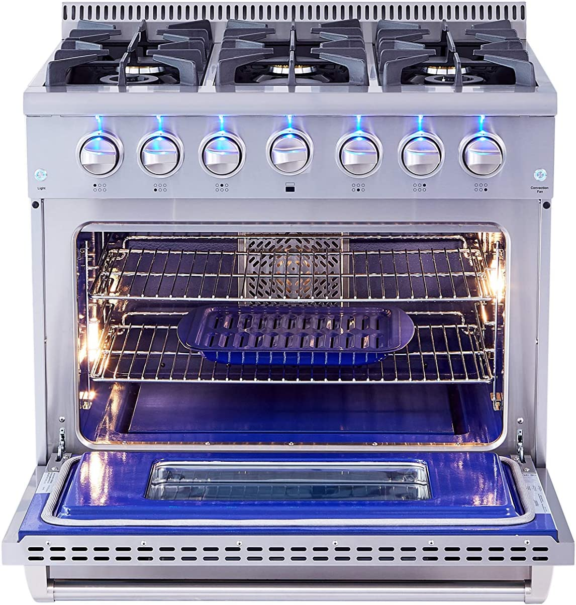 6 Burners Convection Fan Oven Blue Porcelain Oven Interior Ft In Stainless Steel Thor Kitchen HRG3618U 36 Freestanding Professional Style Gas Range with 5.2 Cu Cast Iron Grates