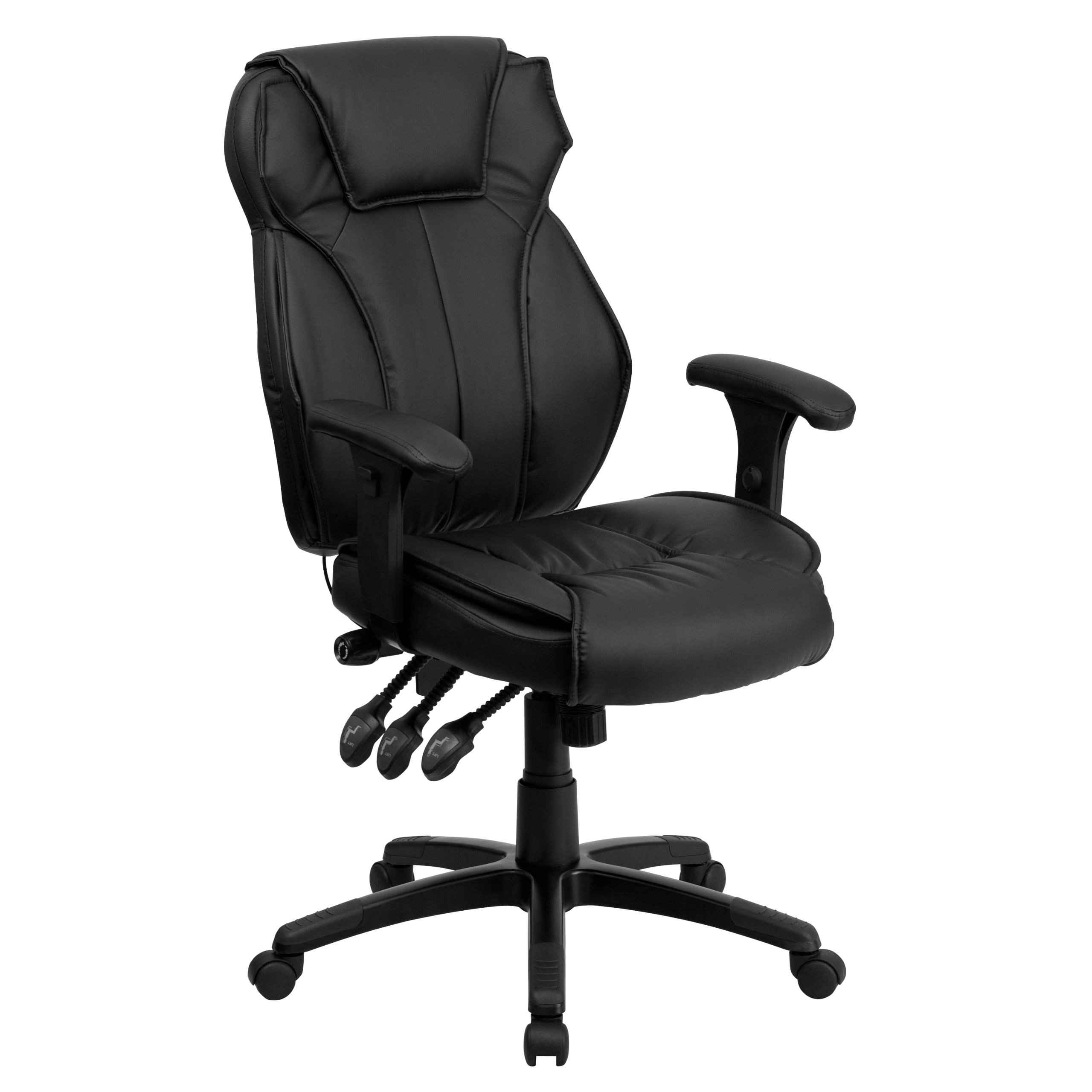 Flash Furniture High Back Black Leather Multifunction Executive Swivel Chair with Lumbar Support Knob with Arms by Flash Furniture by Flash Furniture