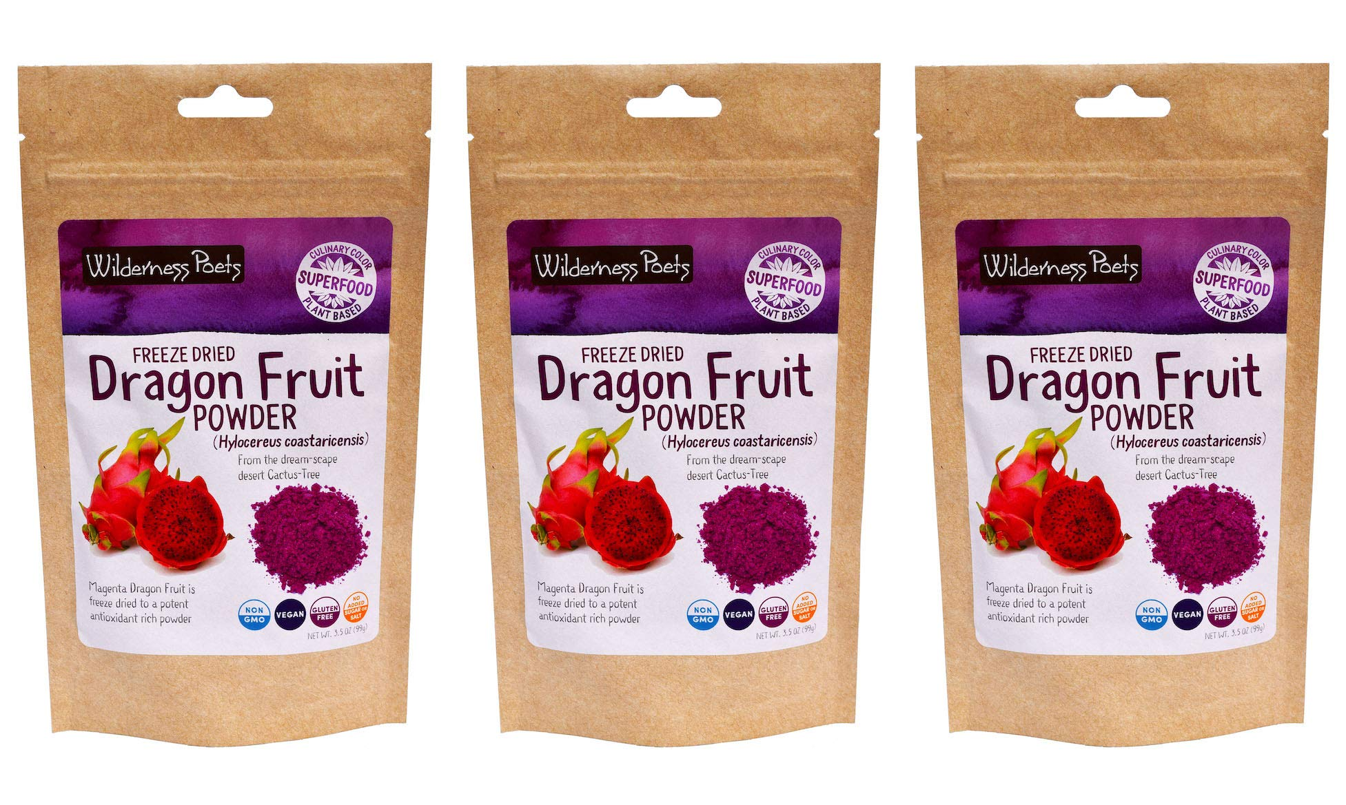 Wilderness Poets Freeze Dried Dragon Fruit Powder - Pitahaya Powder, 3.5 Ounce (Pack of 3)
