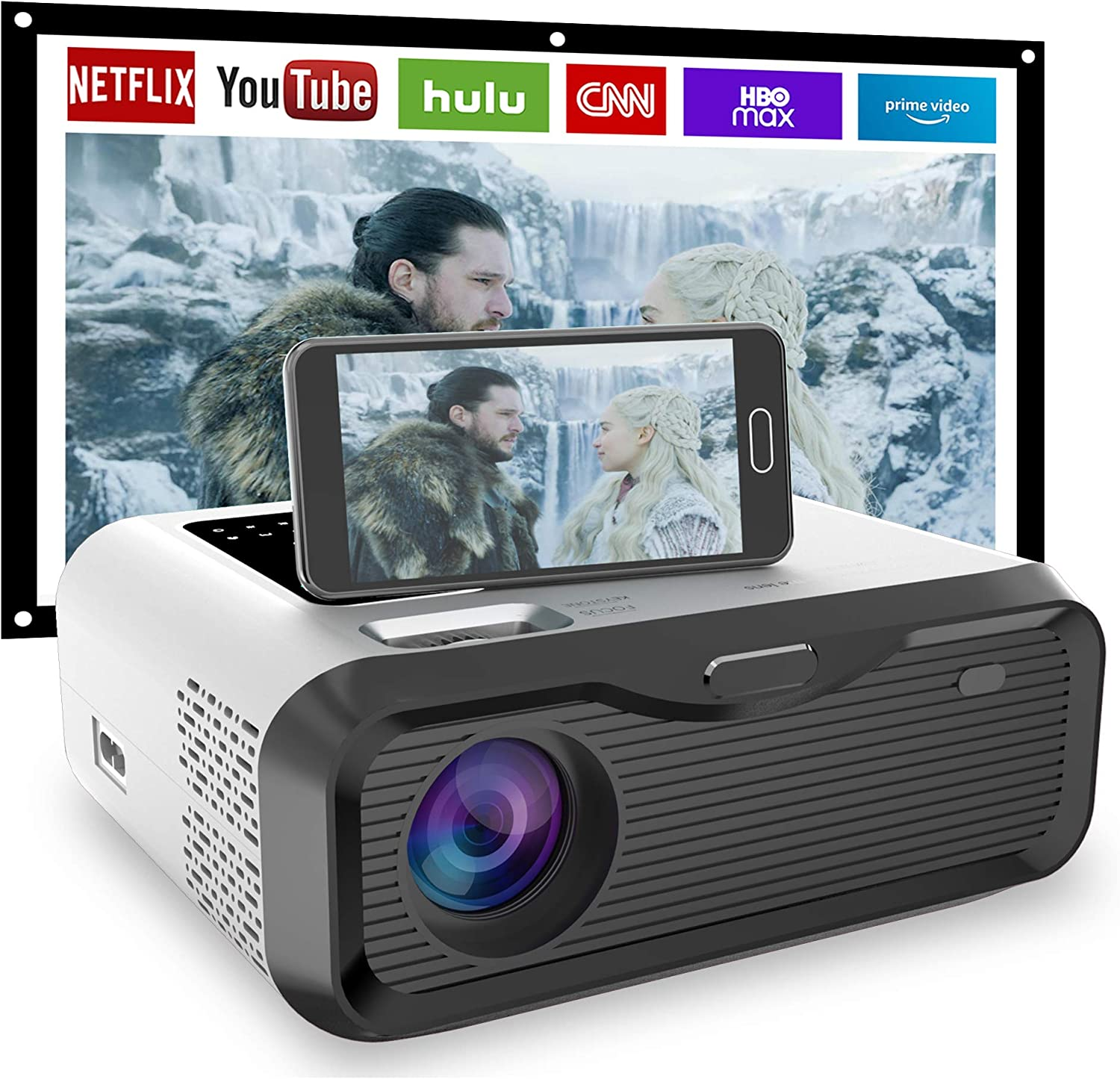 1080P Outdoor Projector with 100/″ Screen MVV WiFi Projector 5500 Lumen Mini Portable Projector Compatible with TV Stick Smartphone Tablet HDMI USB AV for Home Entertainment