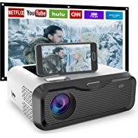 """【2021 New】JIEGAO Wifi Portable Projector- Play Netflix -Wireless Mini Projector HD 1080P and 220"""" Display Supported…"""