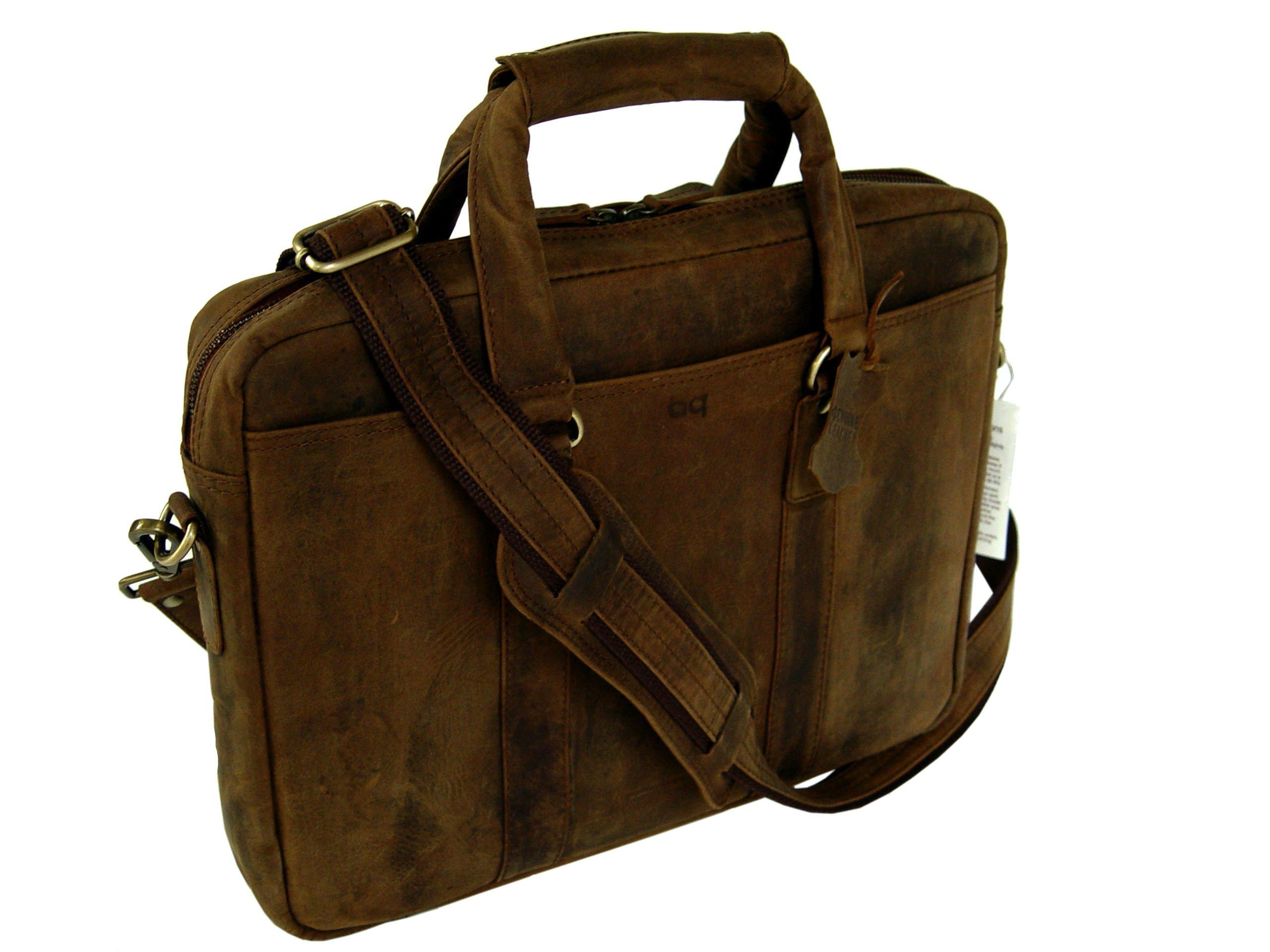 BASIC GEAR Full Grain Leather Messenger Bag Laptop Briefcase in Vintage Rustic look