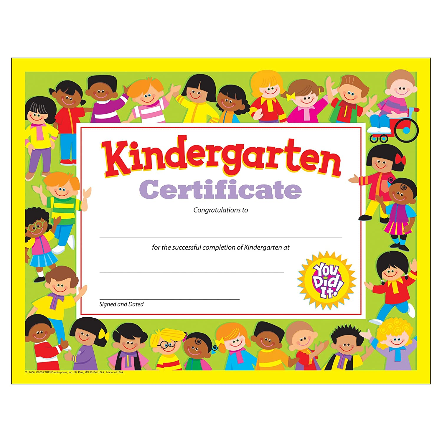 Awards certificates amazon office school supplies trend enterprises kindergarten certificates 30pkg t 17008 yelopaper Choice Image