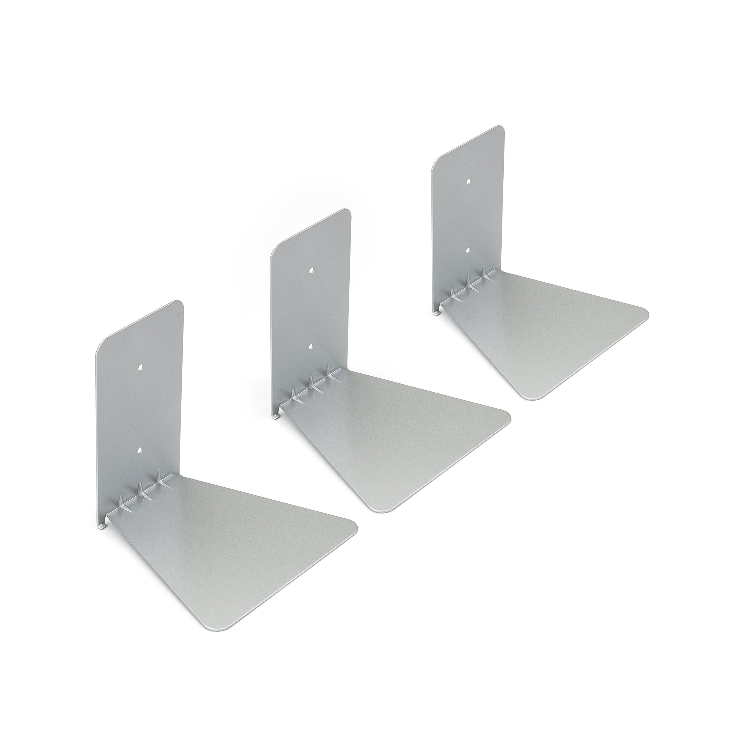 Umbra Conceal Floating Bookshelf - Small Set of 3 Silver Hidden Bookshelves & Wall Displays - Modern Practical Durable L-Shaped Shelf - Mounts to the Wall and Becomes Invisible Behind a Stack of Books