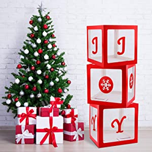 Aneco 3 Pack Christmas Storage Box Christmas Box Decorations Transparent Joy Box Christmas Large Box Christmas Holiday Red Decor for Party Wedding Supply Home Fireplace Decor